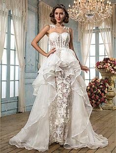 A-line/Princess Jewel Asymmetrical Lace And Organza Wedding ... – USD $ 349.99
