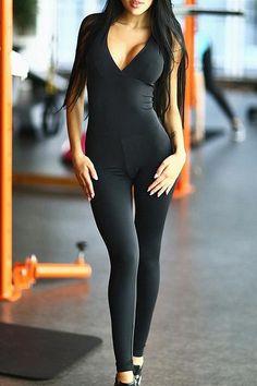 28f3944e0892d Tight Sexy Cross shoulder strap sport pants jumpsuit Fitness Pilates