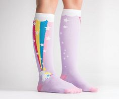 Did you know that unicorns poop rainbows? Well see for yourself on these magical unicorn rainbow socks! You'll love lounging around the house in these bright and colorful socks and they're perfect for adding some fun to your outfit. Crazy Socks, Cool Socks, Rainbow Socks, Unicorns And Mermaids, Gadgets, Knee High Socks, Leggings, Sock Shoes, Cute Outfits