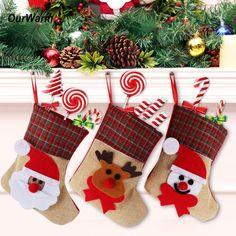 4Pcs/Lot Santa Claus Sock Xmas Tree Ornaments
