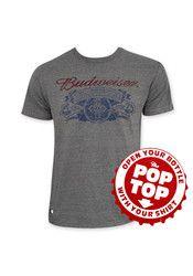Budweiser Men's Retro Label Pop Top Gray Short Sleeve Tee