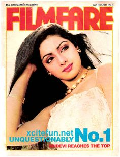 Known as the 'First Female Bollywood Superstar' Sridevi is undoubtedly on our 'Exceptional Bollywood Actress' list at #8!  Here's a rare image when Sridevi was on the cover of Filmfare Magazine back in those days