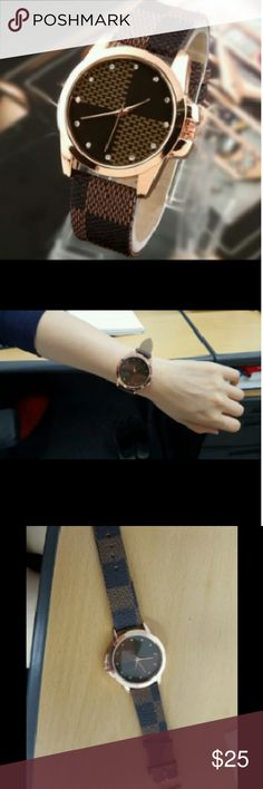 New Fashion Brand Grid Leather Strap Watches Stainless Steel Glass Quartz Wristwatches John RAMBO Accessories Watches