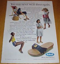 """1978 Scholl Exercise Sandals 1 Page Ad """"Better Than Barefoot"""" #011216"""