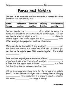 Force and motion fill-in-the-blank science worksheets, science curriculum, Science Worksheets, Science Curriculum, Science Resources, Science Classroom, Science Lessons, Science Education, Teaching Science, Science Ideas, Physical Science Projects