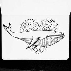 21/31 - Grande: as gigantes da natureza (minha primeira baleia ) #inktober #instart #inktober2016 #nankin #unipin #fineline #octuber #outubro #partiuevoluir #aprentendo #treinando #desenho #arteportodaparte #desenhando #draw #drawing #onedrawingaday #onesketchaday #sketch #sketchday #arte #art #illustration #big #grande #baleia #whale #drawingwhales #ocean #cardume