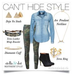 """""""You can't hide great style - it demands to be seen. #stelladotstyle #camo #easystyle"""" by cathy-bartlett on Polyvore featuring Stella & Dot, Faith Connexion, Vero Moda, women's clothing, women's fashion, women, female, woman, misses and juniors"""