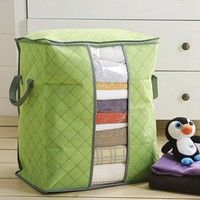 Material:Bamboo Size:48*28*50cm Color:Green/Blue Type:Storage Boxes & Bins Feature:Eco-Friendly,