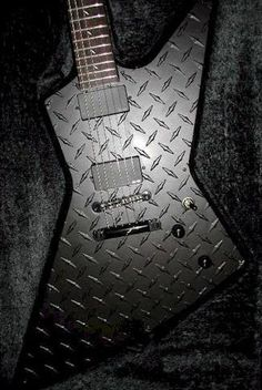 James Hetfield's Black ESP JH-2 Explorer - black diamond plate (body), deer inlays