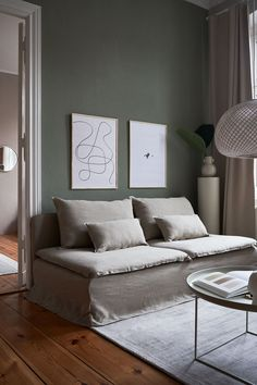 Deep green and soft neutrals are one of our favourite colour combinations, they each let the other shine Flo Jo, Söderhamn Sofa, Couch, Living Room Green, Living Room Sofa, Sofa Colors, Wall Colors, Ikea Hack Sofa, Sofa Colour Combinations