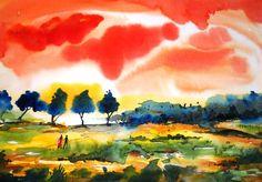 "Saatchi Online Artist: sanjay punekar; Watercolor, 2012, Painting ""landscape III"""