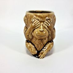 Lefton Mug Monkey Image ESD Japan Hand Painted Vintage See No Evil Monkey Stein Decor by KoolKoolThangs on Etsy