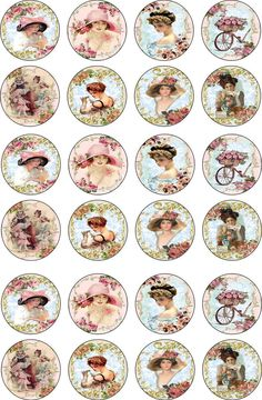 Bottlecap Victorian Women Round and Oval Glossy Stickers Scrapbooking Crafts…