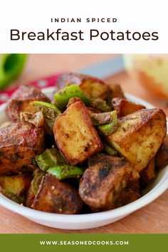 Our Indian-spiced breakfast potatoes are seasoned with garam masala, cumin and cayenne for a spicy take on the usual home fries. Home Fries, Breakfast Potatoes, Garam Masala, Spin, Indian, Vegetables, Food, Homemade French Fries, Potato Fry