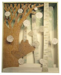 Katharine McEwen: Winter Bear (collage and acrylic in a box)