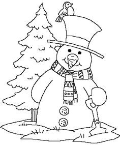 Snowman Near Christmas Tree Coloring Page Pages Free Online And Printable