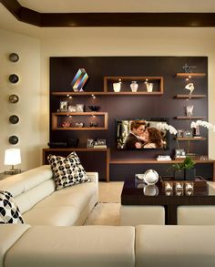 Home Design: Contemporary living room design is known to have c. Contemporary Family Rooms, Contemporary Decor, Contemporary Shelving, Contemporary Stairs, Kitchen Contemporary, Contemporary Wallpaper, Contemporary Landscape, Contemporary Architecture, Living Room Designs