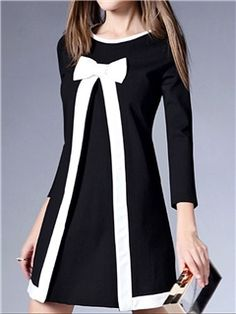 Elegant Womens Long Sleeve Bowknot Sweet Mini Skirt Dress Slim Fit New Cute Dresses, Beautiful Dresses, Casual Dresses, Short Dresses, Fashion Dresses, Mini Dresses, Cotton Dresses, Mini Skirt Dress, Mode Hijab