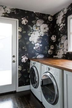 Bold Walls - 10 Laundry Room Ideas We're Obsessed With - Southernliving. Since this is a private, small space, it's the perfect place to really play with pattern. Here, a dramatic floral wallpaper entertains the eye. See Pin