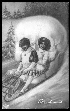 Vintage Halloween Skull Sledding Couple Public Domain image