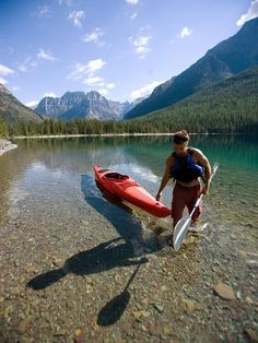 Kayaking at Glacier... I drove past this lake and it is absolutely beautiful!!!!