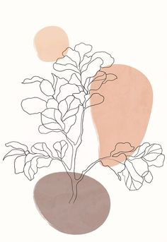 Aesthetic one line house plant print, botanical poster, room decor aesthetic, houseplant print, terr