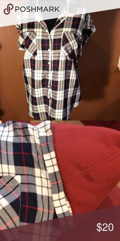 Plaid blouse Short rolled sleeves.  Red, white and blue.  Perfect for your next country concert.  Super soft. Fits more like an XL. Jacks Girlfriend Tops Button Down Shirts