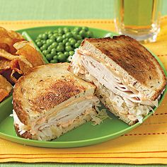 Turkey Reubens Recipe, I love the taste of turkey and sauerkraut. Soup And Sandwich, Sandwich Recipes, Sandwich Board, Sandwich Ideas, Turkey Reuben, Reuben Recipe, Nutrition, Budget Meals, Budget Cooking