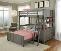 Lakehouse Loft Bed with Full Size Lower Bed Stone - www.ekidsrooms.com