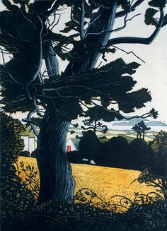 """Pamela Leonard (Irish: 1940)   Harvest Moon     """"Through Hedgerow""""   She has designed 16 stamps for An Post and won an award in Japan for stamp design."""