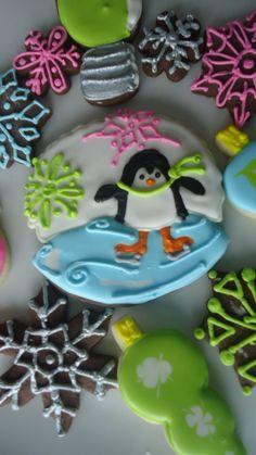 Christmas cookies ~ ice skating penguin