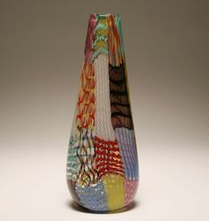 AVEM Murano art glass latticino patchwork vase. Large vase internally composed of polychrome patchwork sections. 18 1/2