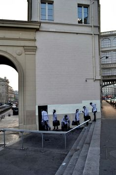 """The Departure"" New Piece By Levalet on the streets of Paris, France. 5"