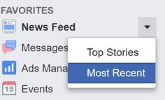 "Facebook automatically defaults to showing you ""Top Stories"", but there is a way to permanently see ""Most Recent"" updates instead."