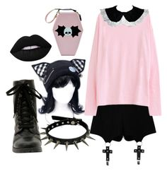 """Pastel Goth Baby"" by brooklyn-pettit ❤ liked on Polyvore featuring Chicnova Fashion and Lime Crime"