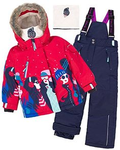 Deux par Deux Girls' 2-Piece Snowsuit Retro Alpine, Sizes 4-14:   Set includes: jacket, pants, polar fleece neck-warmer; Superior quality insulation insuringprotection against cold to -30C/-20F; Breathable fabrics treated with TEFLON by DuPont; backing of fabric iscoated with polyurethane 5000 mmresulting in weather proof andperspiration vapor escape; Elasticized wrists and ankles; Lycra cuffs; Snowskirt with rubberized elastic band; Removable hood; Inside hood, collar, booties, mitts,...