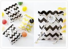 Zig Zag Favor Bags with Twine #black #white #camillestyles