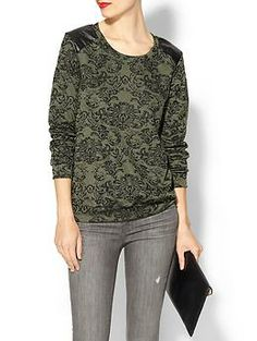 Potters Pot Paisley Vegan Leather Detail Knit Top | Piperlime