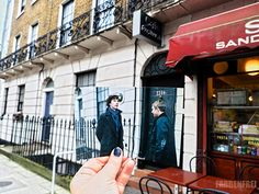 """""""ON THE TRACKS OF SHERLOCK HOLMES BBC: a while back when I was in London, my friend and I tracked down some Sherlock locations and I took printed pictures with me to catch the exact scene."""" Click for more pictures taken in North Gower Street, Russell Square Gardens, Northumberland Street, China Town, ST Bart's Hospital, and Eaton Square London."""