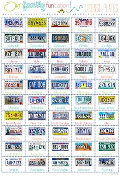 License Plate Game Printable and more.