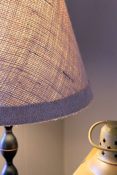 Burlap Covered Lamp Shade Tutorial