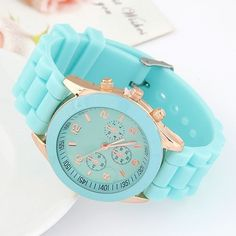 Sweet Candy Fashion Silicon Band Sky Blue Wrist Watch