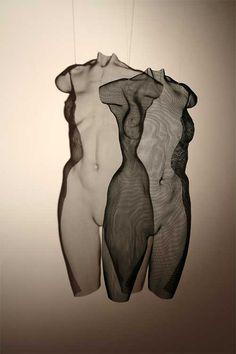 is David Begbie, 'IKON' Steelmesh female torso, suspended Modern Sculpture, Sculpture Art, Modern Art, Contemporary Art, Statues, Wire Art, Oeuvre D'art, Erotic Art, Installation Art