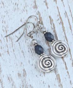 Loving this Blue Czech Glass & Antique Silvertone Drop Earrings on #zulily! #zulilyfinds