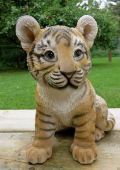 Tiger Figurine Baby Sitting Statue 9 5 in African Animal Jungle Home Decor Cat | eBay