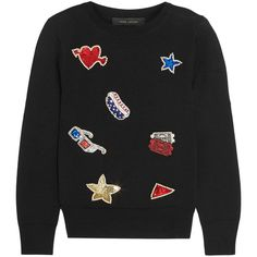Marc Jacobs Embellished merino wool sweater ($500) ❤ liked on Polyvore featuring tops, sweaters, marc jacobs, black, colorful sweaters, sequin embellished top, beaded sweaters, beaded top e multi colored sequin top