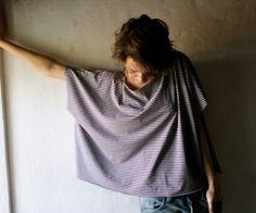 Maxi Tshirt top - purple striped jersey womens tshirt extra large. €32.00, via Etsy.