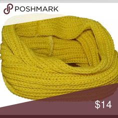 NEW ITEM !!!!   Yellow, cable knit cowl neckwarmer Price is FIRM !!!!   Very light , warm & fun infinity scarf Accessories Scarves & Wraps