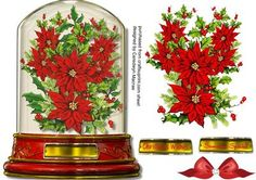 Beautiful Snow Globe with Poinsettias and Holly  on Craftsuprint designed by Ceredwyn Macrae - A beautiful card to make and give to anyone with a lovely snow globe and poinsettias with Holly , has two greeting tags and a blank one for you to choose the sentiment,  - Now available for download!