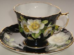 Aynsley Dogwood on Black Tea Cup and Saucer